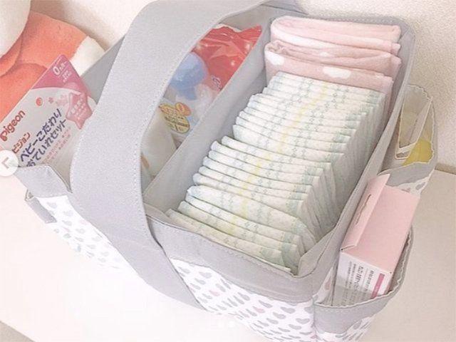 おむつラクラク持ち運び 収納 ニトリベビーの整理用バスケットがお値段以上 たまひよ 赤ちゃん 収納 赤ちゃん ベビー用品 収納