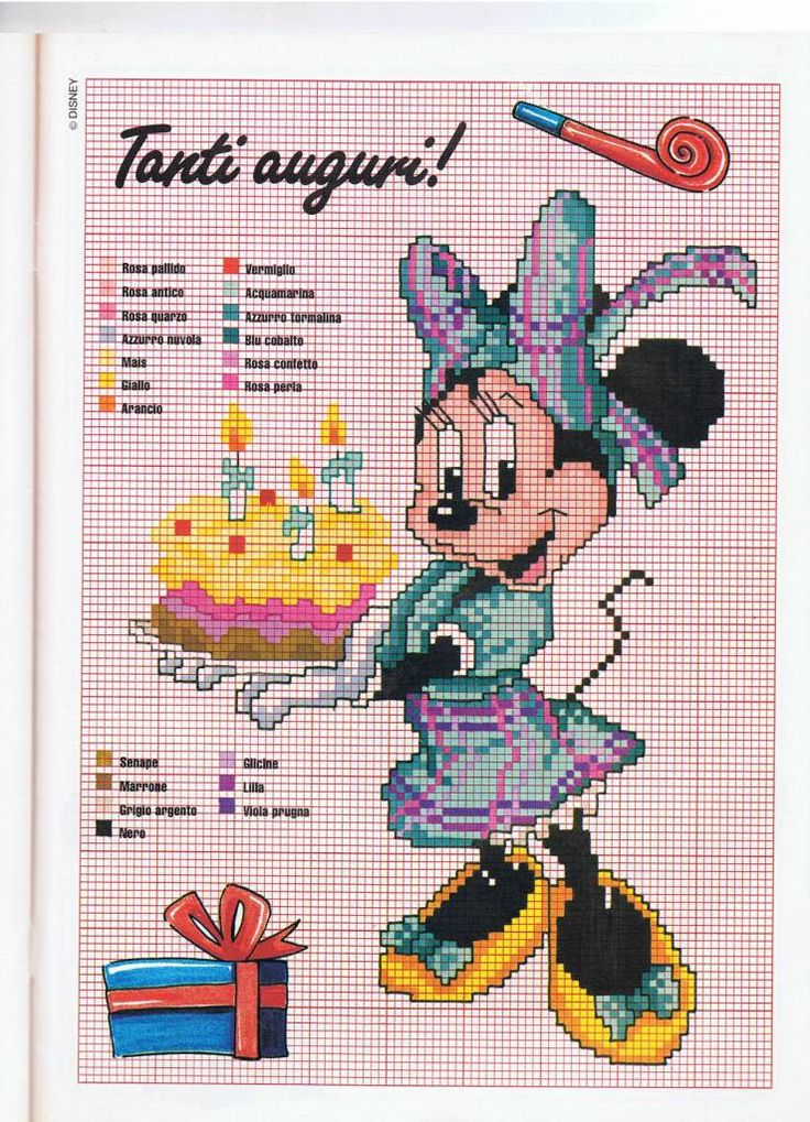 Tanti auguri Minnie - magiedifilo.it punto croce uncinetto schemi gratis hobby creativi