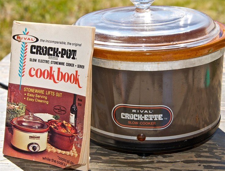Vintage Rival Crock-ette slow cooker crock pot with cookbook...brown...circa 1970s.. $20.00, via Etsy.