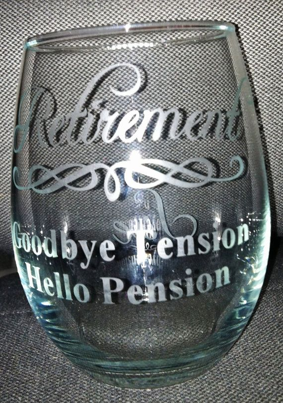 Stemless etched wine glass Retirement wine by PrettyLittleDezigns, $13.00