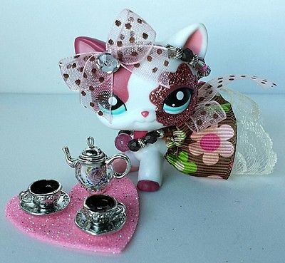 Littlest Pet Shop Accesories LPS COSTUM OUTFIT Coffee time w/real gems.