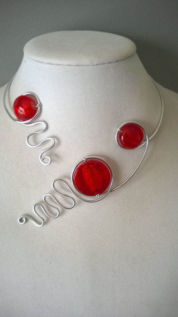 Red jewelry Modern necklace Design jewelry by LesBijouxLibellule