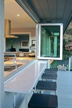 Pass Through kitchen window to deck.  Slide & fold windows.