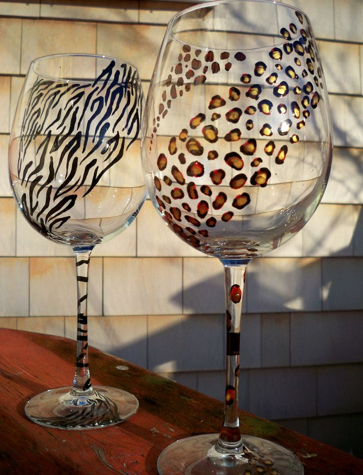 hand painted animal print wine glasses - Google Search