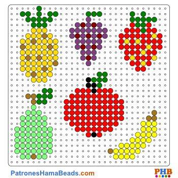 Frutas plantilla hama bead. Descarga una amplia gama de patrones en formato PDF en www.patroneshamabeads.com