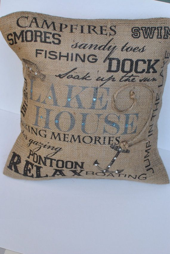 Lake House Subway Art  burlap pillow by MonMellDesigns on Etsy, $38.00