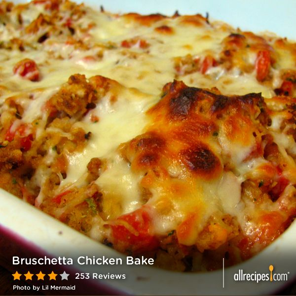 """Bruschetta Chicken Bake   """"This is delish. I did use chicken broth instead of water and added a little extra. My family loved it."""" -caseacres"""