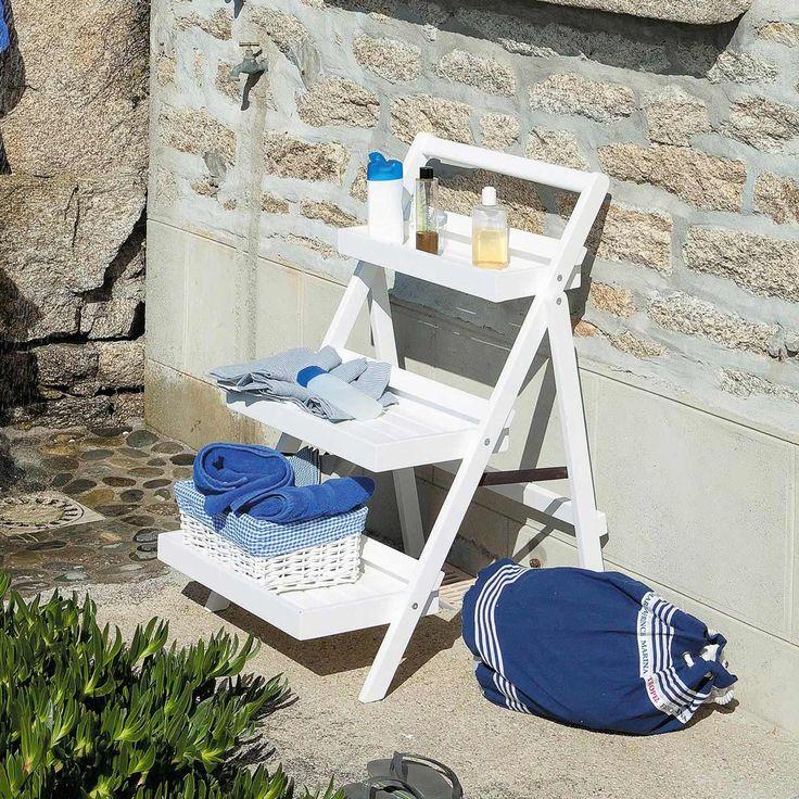 Estantería-escalera para jardín blanca ETRETAT