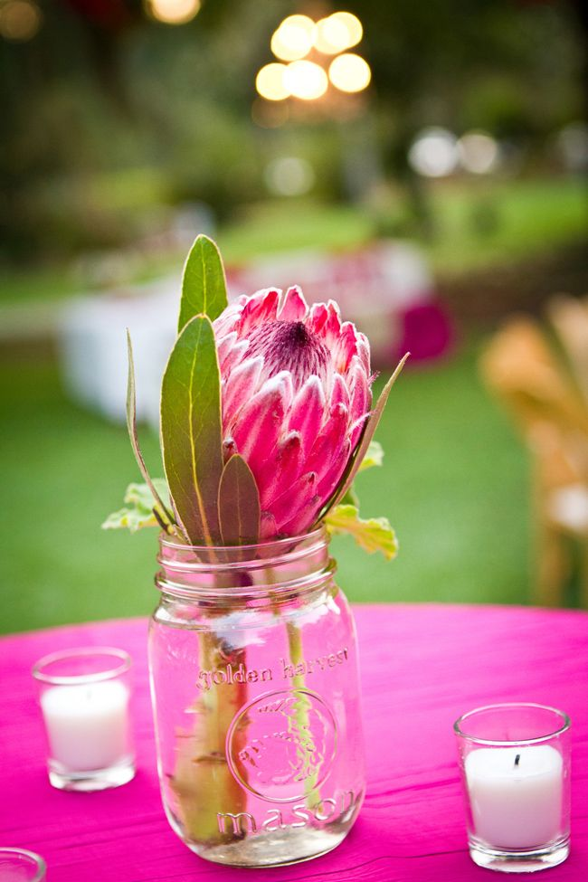Protea Wedding Centerpieces via Coastal Bride