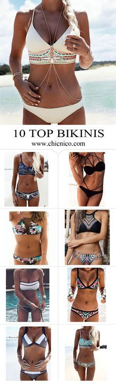 Starting from $14.99! Amazing top 10 bikinis are at www.chicnico.com! Bikini Swimwear Swimsuit 2016 Boho Strappy Floral Halter