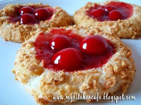 Cherry Cheesecake Cookies.: Cherry Cheesecakes, Cherry Cheesecake Cookies, Food, Cookie Exchange, Cookies Pies Cakes Sweets, Cheesecake Cookies Yummy, Cherries, Cheesecake Cookies Recipes, Dessert