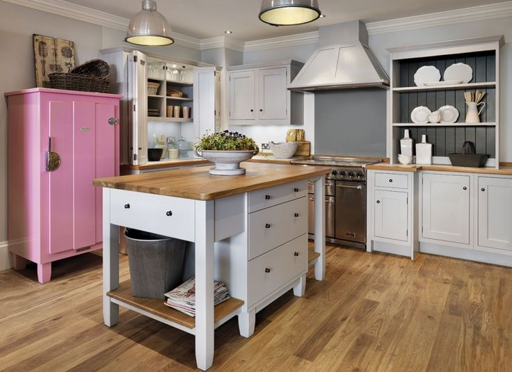 Shaker kitchen with pink cupboard kitchen ideas for Kitchen ideas john lewis