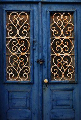 Gold and blue door.