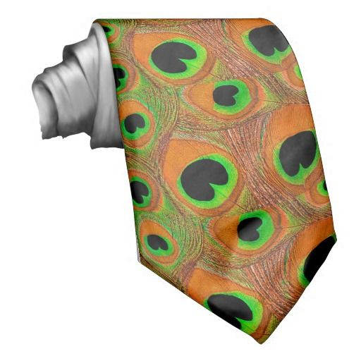 Peacock feather print men's tie in shades of tangerine, orange, lime green, black, and a touch of yellow. A unique tie perfect to wear for peacock feather themed weddings, engagement parties, prom, homecoming, date nights, and more. For weddings, order multiples for all of the groomsmen, fathers of the bride and groom, and ushers in your wedding party. #orange #tangerine #lime #green #black #yellow #peacock #feather #tie #men's #groom #men #prom #wedding #homecoming #animal #print