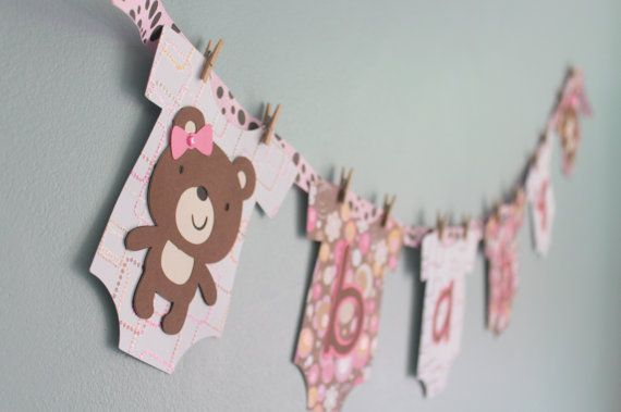 Teddy Bear Baby Shower Banner Girl pink and by CalladooPartyShop