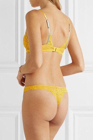 Elle Macpherson Body - Zest Stretch-lace Balconette Bra - Yellow - 34DD