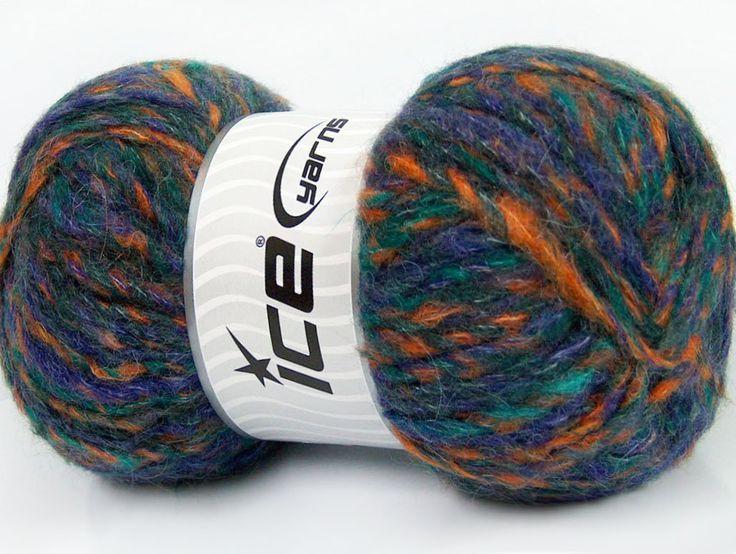 Sonbahar - Kış İplikleri Kışlık Yün Tiftik hantal Yeşil Mor Turuncu  İçerik 43% Akrilik 27% Polyamid 15% Tiftik 15% Yün Purple Orange Brand ICE Green fnt2-41169