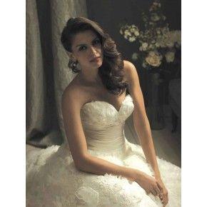 Size 6 -20 Ball Gown Sweetheart Chapel Train Satin Organza Couture Wedding Dress