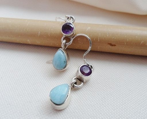 * LARIMAR & AMETHYST EARRINGS * Handcrafted * Sterling Silver *