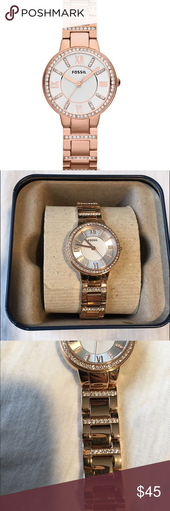 Virginia Rose Gold Fossil Watch It's like new except the dials are loose and need to be tightened. It's a cheap fix but I never got around to it. There is also one stone missing from around the band but you can't tell. I have pictures showing all the wear. It was only worn about 2 weeks. Fossil Accessories Watches