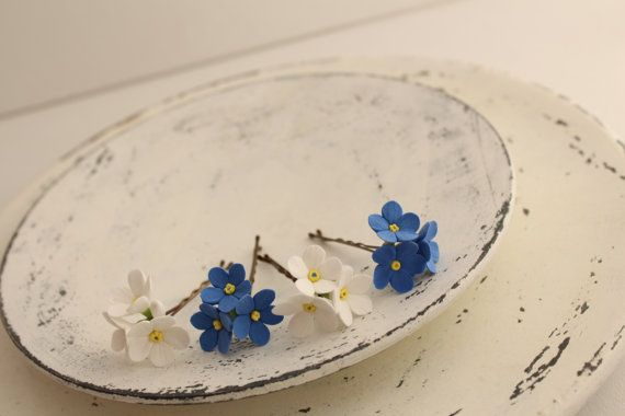 Hair bobby pin flowers. Six pin white and blue by FloraAkkerman