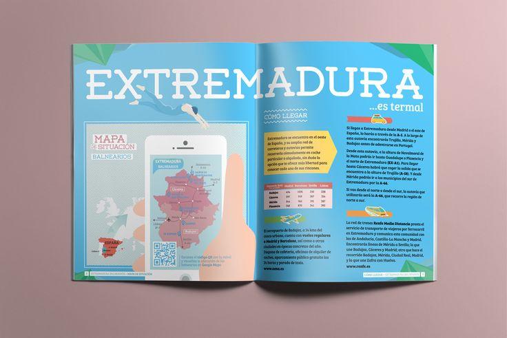Mapa y accesos - Folleto turístico | Extremadura Balnearios - Laruinagrafica