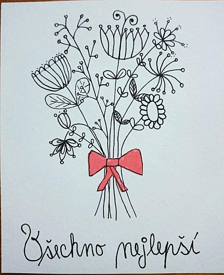 Ručně kreslené přání k narozeninám