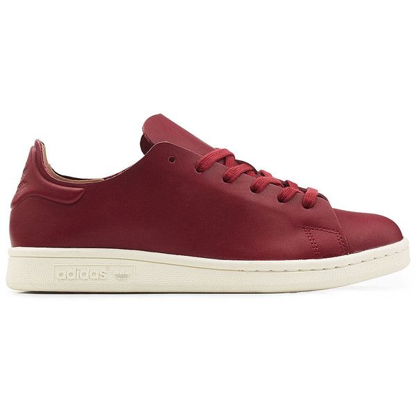 Adidas Originals Stan Smith Leather Sneakers ($77) ❤ liked on Polyvore featuring shoes, sneakers, red leather sneakers, genuine leather shoes, real leather shoes, adidas originals and leather trainers