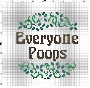 Everyone Poops - Modern Cross Stitch Pattern - Funny bathroom art.