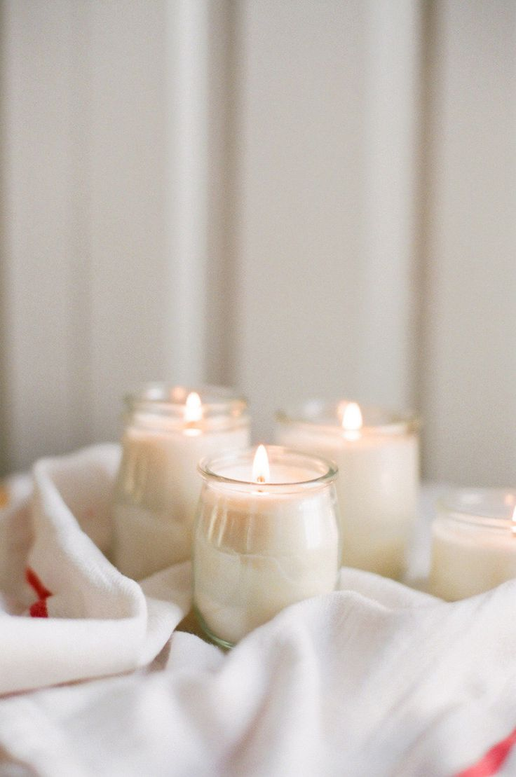 DIY: candles in french yogurt jars | Style Me Pretty