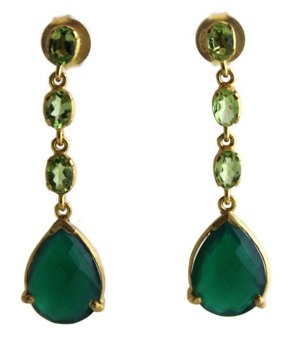 Alicia Peridot and Green Chalcedony Earrings