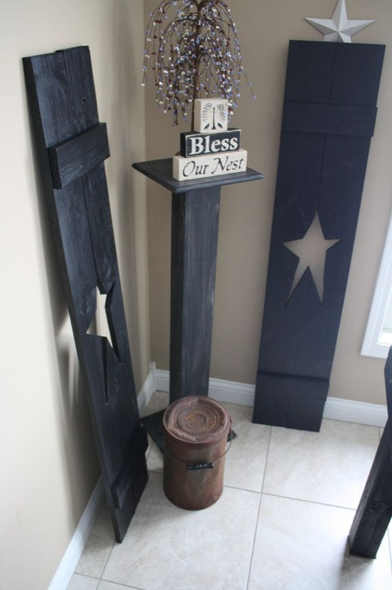 Primitive Black LARGE 5-FOOT TALL Wood Star Shutters Others Sizes Colors Available on Etsy, $60.00