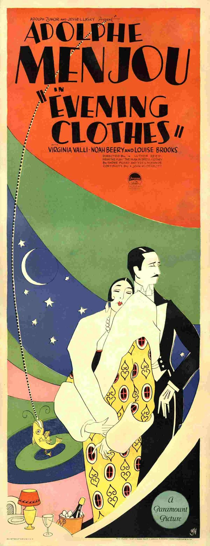 30s poster design - Theatrical Poster For The 1927 Silent Film Evening Clothes Starring Adolphe Menjou And Louise Brooks