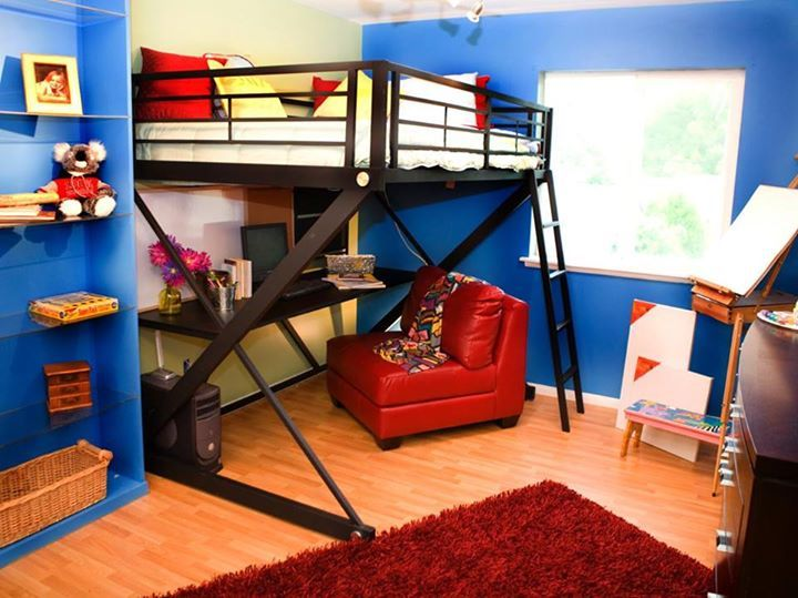 The Large Desk And Comfortable Red Leather Chair Provide A Homework Area  Under The Full Size Bunk Bed, Allowing More Floor Space ...