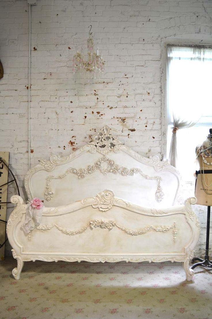 Pintada casa Shabby Chic francés romántico cama Queen / King