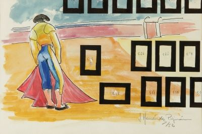 "Auction Lot: 34003637. Joan HERNÁNDEZ PIJUAN (Barcelona, Spain, 1931-2005). ""Toreando ensoñaciones"", 1952. Gouache on cardboard. Signed and dated lower right. 20 x 30 cm, 30 x 41 cm (frame)."