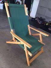 Madeira Vintage Praia Dobrável Ajustável Deck Cadeira meados do século