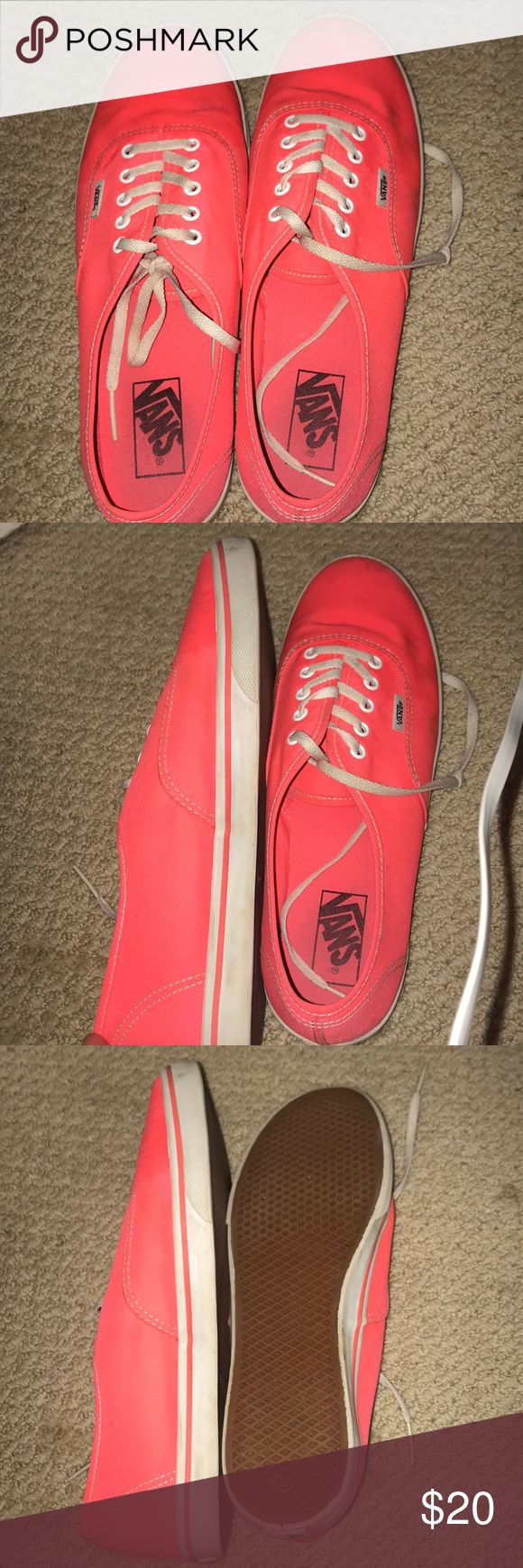 bright coral vans bright coral with white laces basic vans Vans Shoes Sneakers