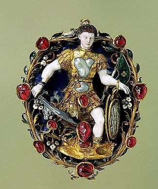 A sixteenth-century French jewelled pendant depicting the Roman war god Mars, with his symbolic attributes of weapons and armour; red is his colour, and it is adorned with blood-red rubies. (The Hermitage)