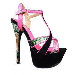 $35.47 Stylish Women's Sexy Heel Sandals With Snake Veins Design