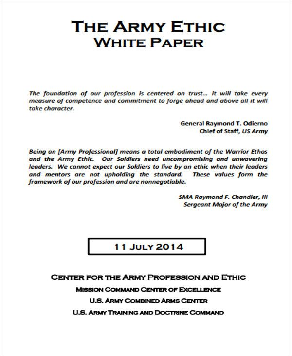 Army Ethics White Paper White Paper Paper Template Free Templates