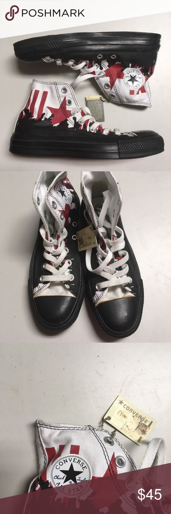 Converse Black, White & Red High Top Sneakers BRAND NEW WITH TAGS. Everyone needs a pair of fashionable and functional Converse! Converse Shoes