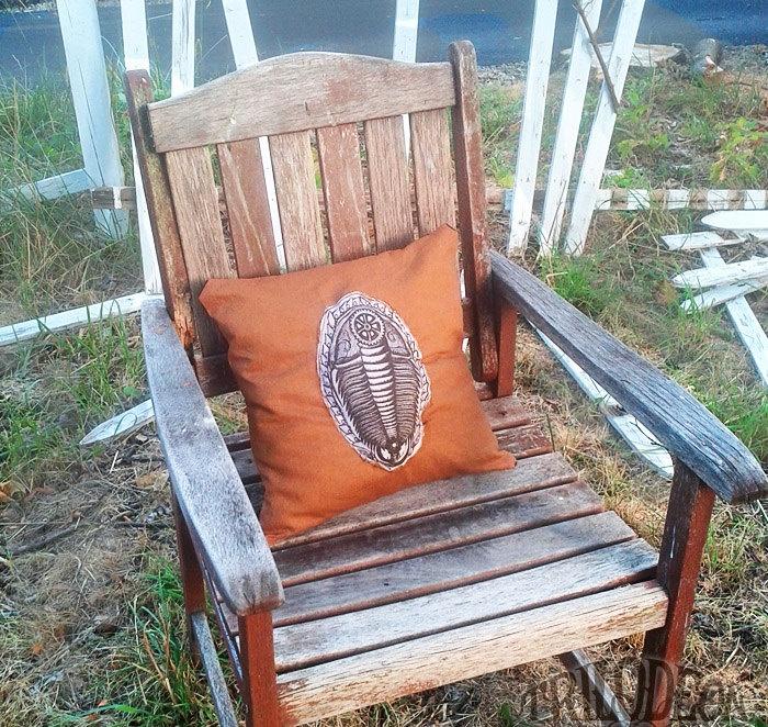 Decorative Pillow Cover 16 inch- Trilobite Fossil Puffed Silkscreen Print - Cinnamon Chocolate Earth Tones - Eco Friendly Steampunk Style. $25.00, via Etsy. #pillow #decor #trilobite #gear