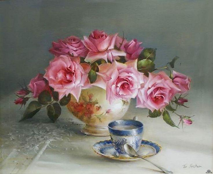 доброе утро старинные картинки с розами цветы чётко