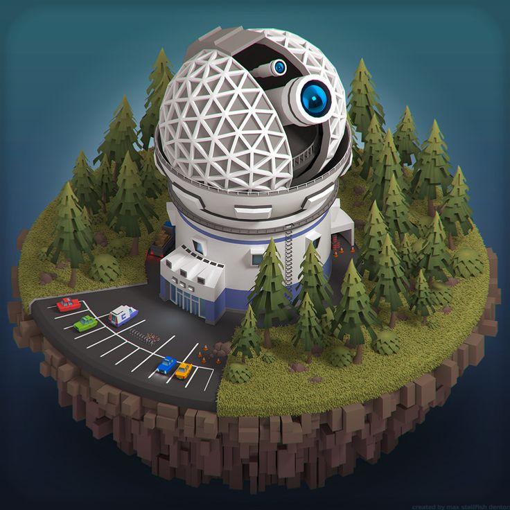 Isometric Observatory Telescope by stallfish's art store on @creativemarket