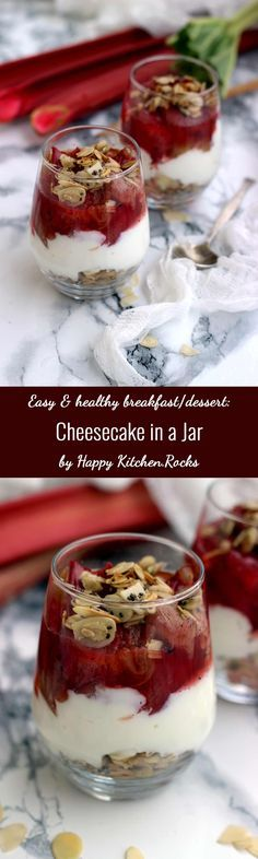 Light, fluffy and delicious Cheesecake in a Jar recipe made with skillet granola, cottage cheese Greek yogurt filling and roasted vanilla rhubarb topping is healthy, easy and takes 30 minutes to make from start to finish! It makes for a great dessert, tak