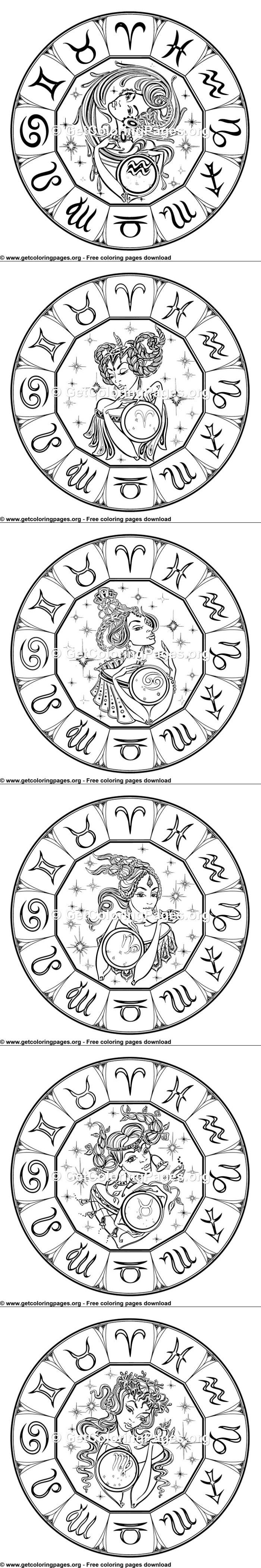 Leo zodiac sign coloring page for adults | Coloring pages ...