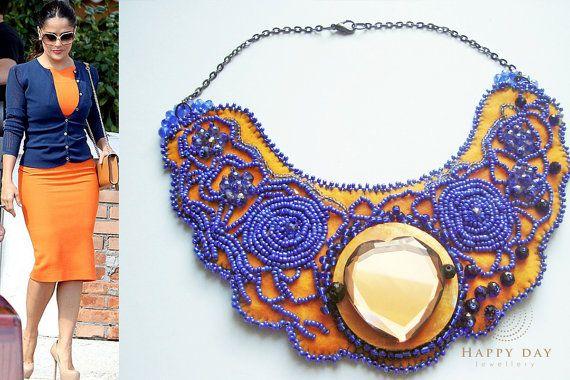Collana arancia, ricamato collana, collana di sera, vendita supplementare, etnica girocollo collana, collana di ricami, perline ricamate gioielli