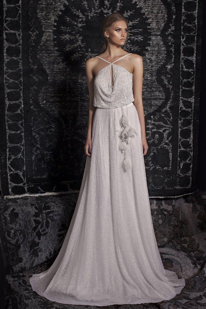 Bohemian Gypsy Wedding Dresses   Bohemian wedding gown, a line wedding gown, halter neckline wedding gown