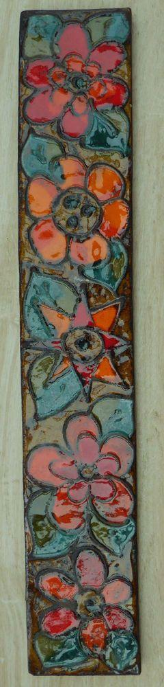Ruscha Keramik Wandfliese XXL 60 x 11 cm Wandbild wall plate Blumen 50er 60er